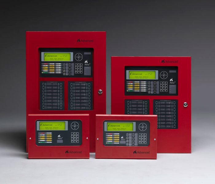 axis ax fire control panel with annunciator red from advanced fire systems